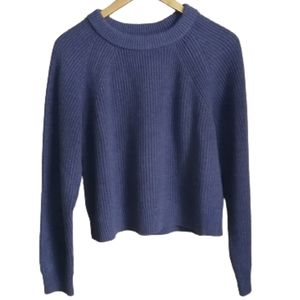 FOUNDATIONALS Purple / Blue Cropped Knit Sweater